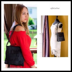 BLACK VEGAN LEATHER FRINGE SHOULDER SADDLE BAG